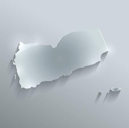 yemen: Yemen Maps glass card paper 3D raster Stock Photo