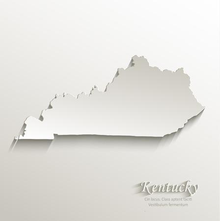 kentucky: Kentucky map card paper 3D natural vector Illustration