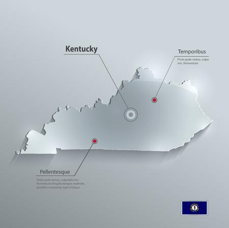 glass paper: Kentucky map flag glass card paper 3D vector