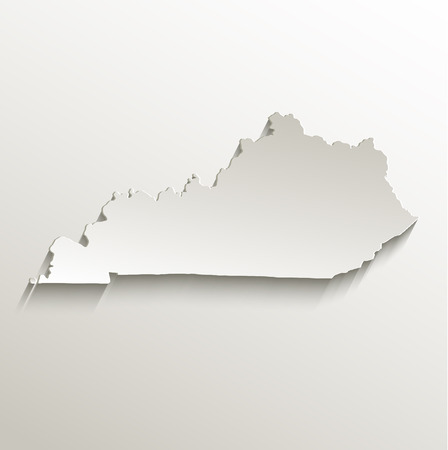kentucky: Kentucky map card paper 3D raster natural