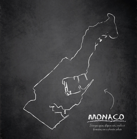 monaco: Monaco map blackboard chalkboard vector