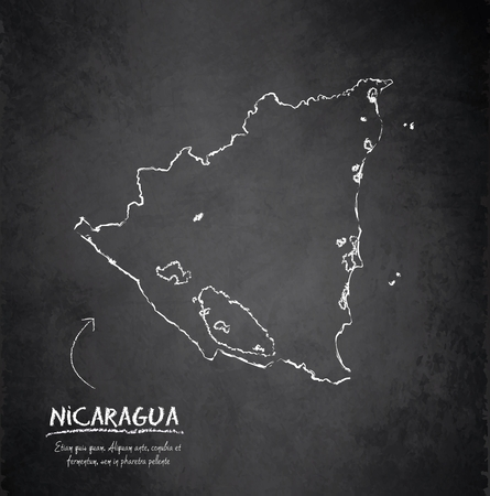 nicaragua: Nicaragua map blackboard chalkboard vector Illustration