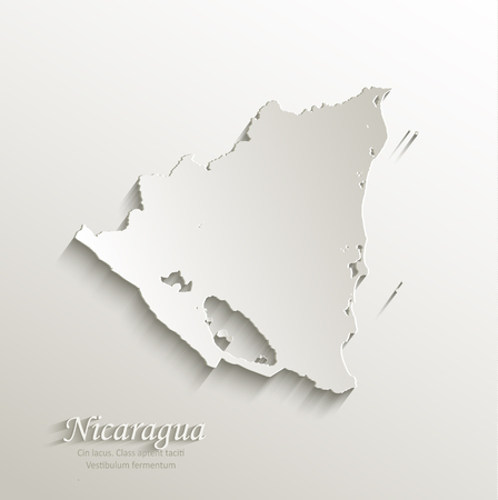 papery: Nicaragua map card paper 3D natural vector