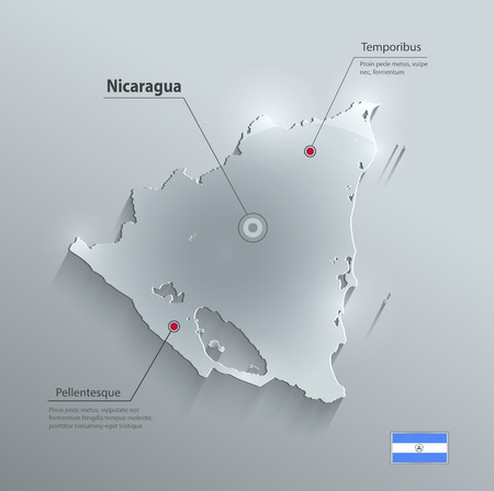 papery: Nicaragua map glass card paper 3D vector Illustration