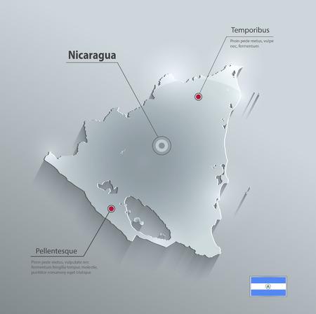 glass paper: Nicaragua map glass card paper 3D vector Illustration