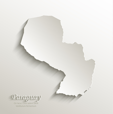 papery: Paraguay map card paper 3D natural vector