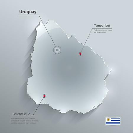 uruguay: Uruguay map glass card paper 3D Illustration