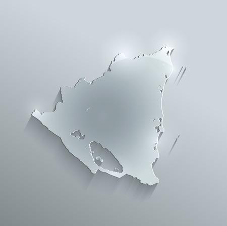 nicaragua: Nicaragua map glass card paper 3D raster