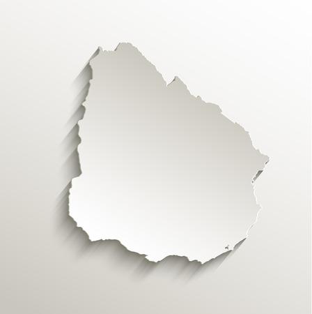 uruguay: Uruguay map card paper 3D natural raster Stock Photo