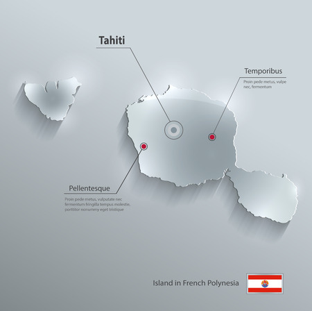 pacific: Tahiti map flag glass card paper 3D vector French Polynesia