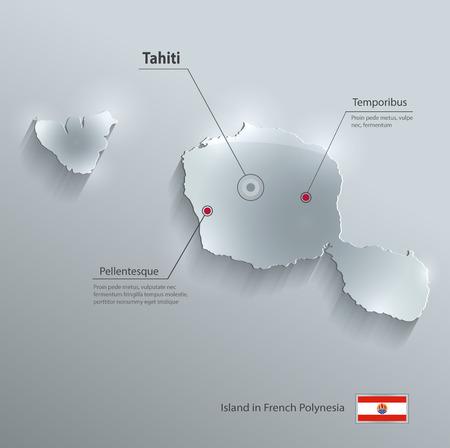 tahiti: Tahiti map flag glass card paper 3D vector French Polynesia