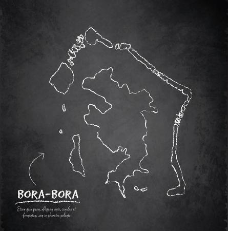 borabora: Bora-Bora map blackboard chalkboard vector french polynesia