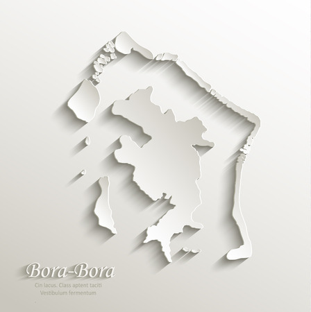 french polynesia: Bora-Bora map card paper 3D natural vector french polynesia