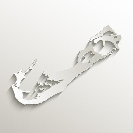 bermuda: Bermuda map card paper 3D natural raster