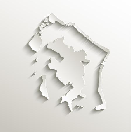 borabora: Bora-Bora map card paper 3D natural raster French Polynesia Stock Photo