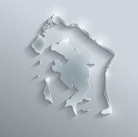polynesia: Bora-Bora map glass card paper 3D raster French Polynesia Stock Photo