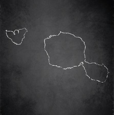 tahiti: Tahiti map blackboard chalkboard raster French Polynesia Stock Photo