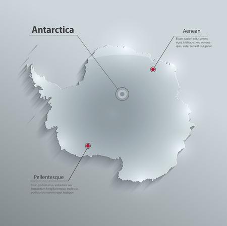 antarctica: Antarctica map glass card paper 3D vector