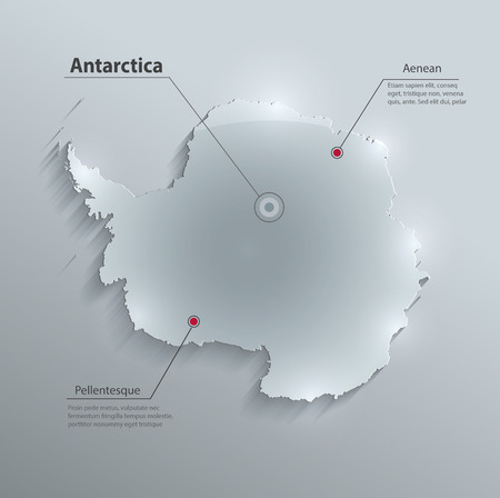 Antarctica map glass card paper 3D vector