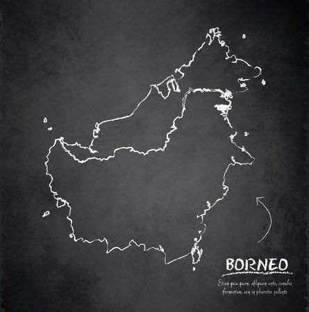 map of brunei: Borneo map blackboard chalkboard vector - Malaysia Indonesia Brunei country Illustration