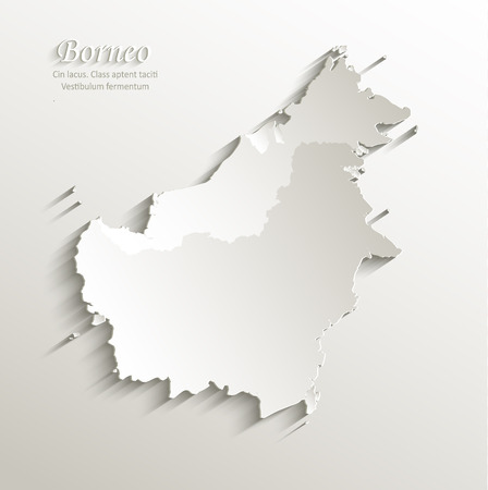 indonesia: Borneo map card paper 3D natural vector - Malaysia Indonesia Brunei country
