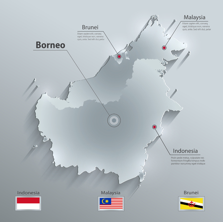 map of brunei: Borneo map glass card paper 3D vector - Malaysia Indonesia Brunei country