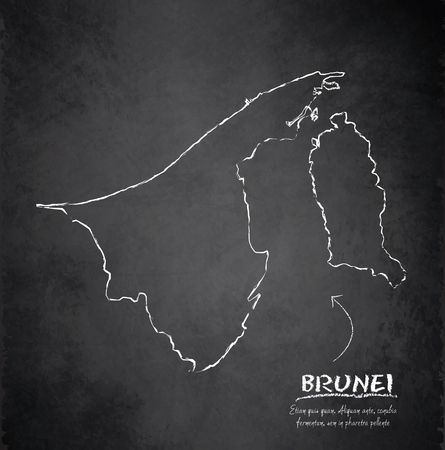 map of brunei: Brunei map blackboard chalkboard vector Illustration