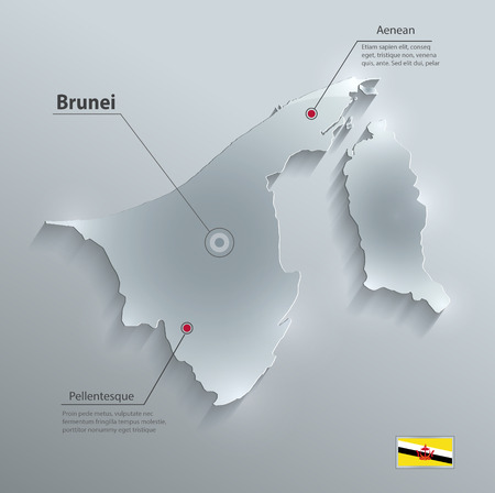map of brunei: Brunei map flag glass card paper 3D vector