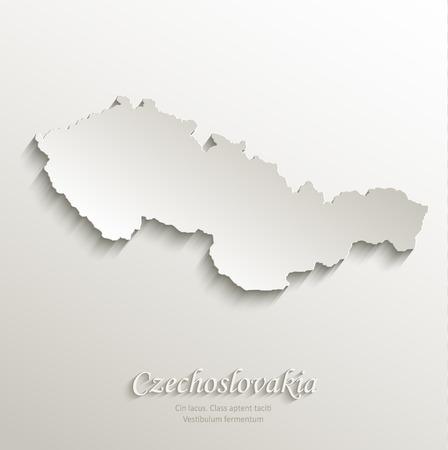 czechoslovakia: Czechoslovakia map card paper 3D natural vector Illustration