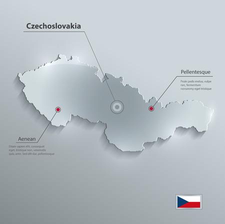 czechoslovakia: Czechoslovakia map flag glass card paper 3D vector