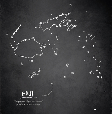 fiji: Fiji map blackboard chalkboard vector