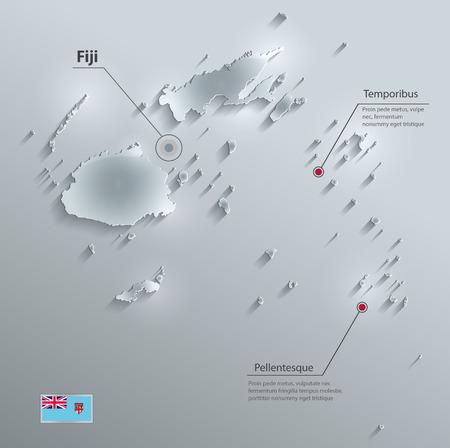 glass paper: Fiji map flag glass card paper 3D vector