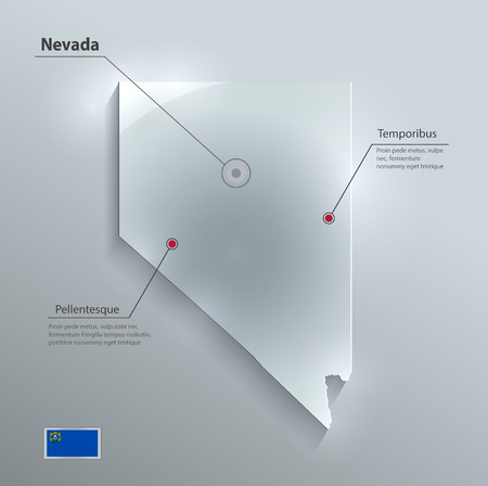 glass paper: Nevada map flag glass card paper 3D vector