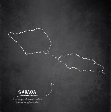 samoa: Samoa map blackboard chalkboard vector