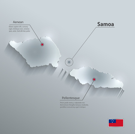 samoa: Samoa map flag glass card paper 3D vector