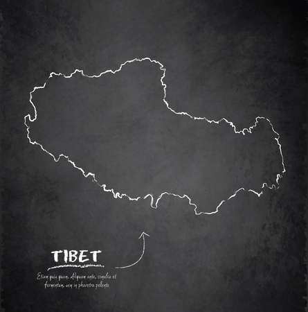 tibet: Tibet map blackboard chalkboard vector