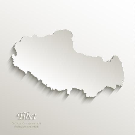tibet: Tibet map card paper 3D natural vector