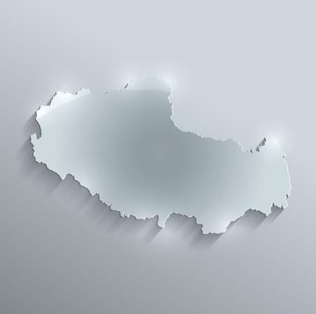 tibet: Tibet map glass card paper 3D raster