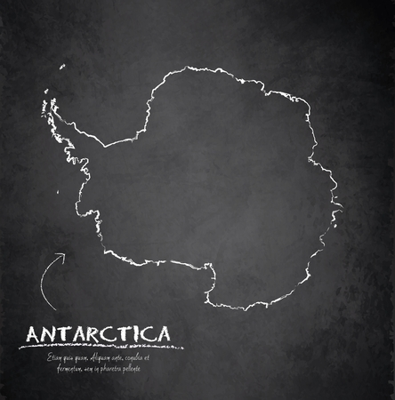 antarctica: Antarctica map blackboard chalkboard vector Illustration