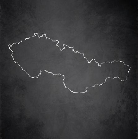 raster: Czechoslovakia map blackboard chalkboard raster
