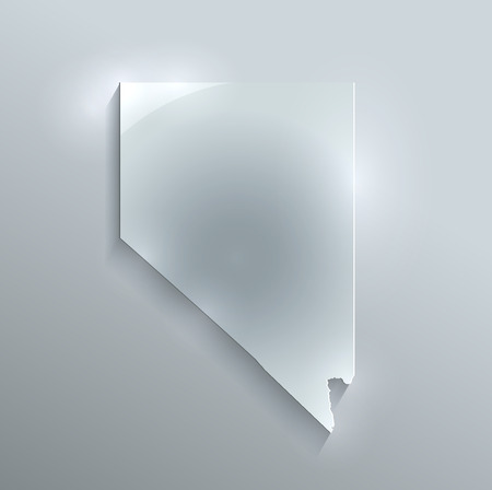 papery: Nevada map glass card paper 3D raster Stock Photo