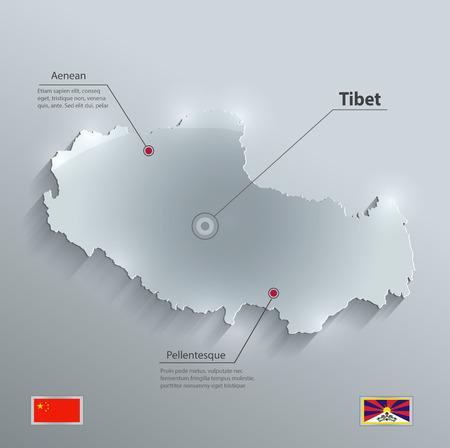tibet: Tibet map flag glass card paper 3D vector china flag Illustration