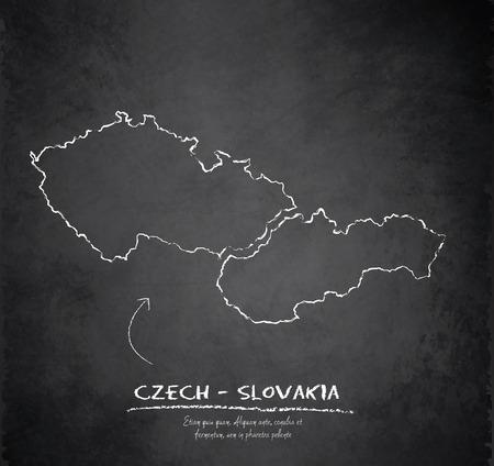 czech: Czech Slovakia map chalkboard blackboard vector Czechoslovakia Separate maps Illustration
