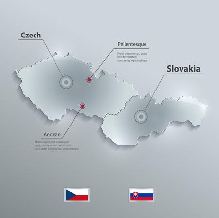 czech: Czech Slovakia map flag glass card paper 3D vector Czechoslovakia Separate maps Illustration