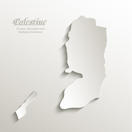 palestine: Palestine map card paper 3D natural vector