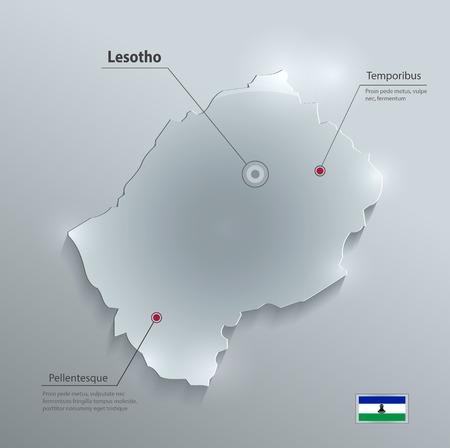 glass paper: Lesotho map flag glass card paper 3D vector Illustration