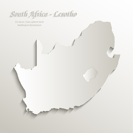 papery: South Africa Lesotho map card paper 3D natural vector