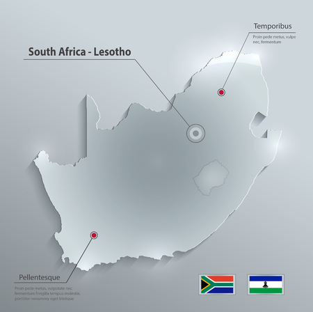 glass paper: South Africa Lesotho map flag glass card paper 3D vector Illustration