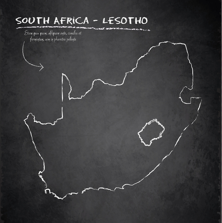 lesotho: South Africa Lesotho map blackboard chalkboard vector