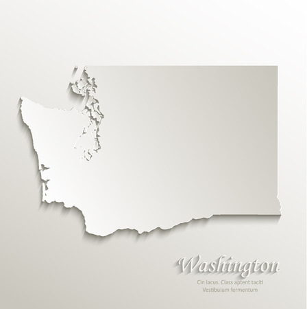 american cities: Washington map card paper 3D natural vector Illustration